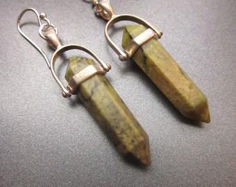 Green Stone Dangle Earrings Green Jewelry