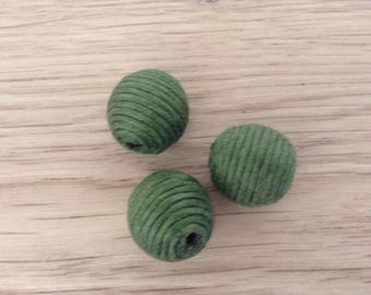 Beads textile green x 3