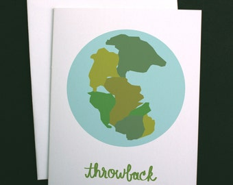 "Pangaea, Planet Earth ""Throwback"" Greeting Card A2"