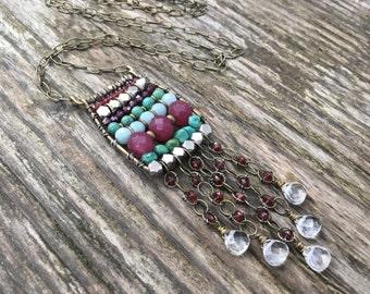 Ancient Abacus Bohemian Necklace - Long Gemstone Necklace - Boho Chic Statement Necklace - Garnet, Turquoise, Quartz, and Amazonite - Silver