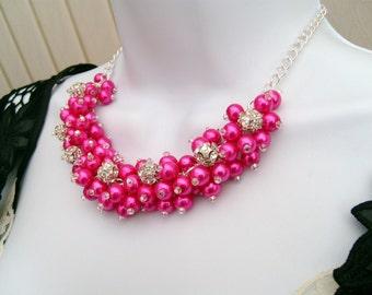Hot Pink Beaded Necklace, Rhinestone Bridesmaid Jewelry, Cluster Necklace, Chunky Necklace, Bridesmaid Gift, Bridesmaid Necklace