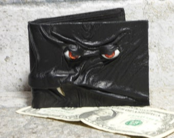 Leather Wallet Monster Face Fantasy Magic The Gathering Horror World Of Warcraft  Fathers Day Gift Black 551