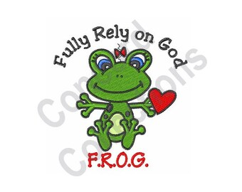 Frog - Machine Embroidery Design, Fully Rely On God - Machine Embroidery Design