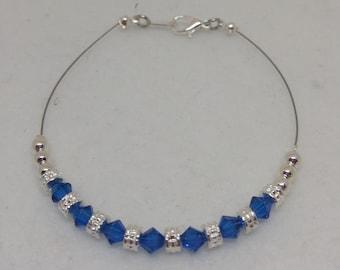 Capri Blue (Bright Sapphire Blue) Swarovski Crystal Anklet
