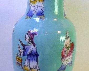 "Vintage Japanese Porcelain 8"" Vase CHILDREN PLAYING Hand Painted In Hong Kong"