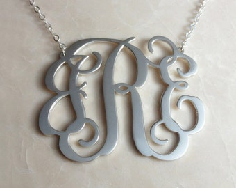 "3 Initial Monogram Necklace,1.75"" inch Personalized Monogram Necklace,Silver Monogram Necklace,Custom Letter Necklace-%100 Handmade"