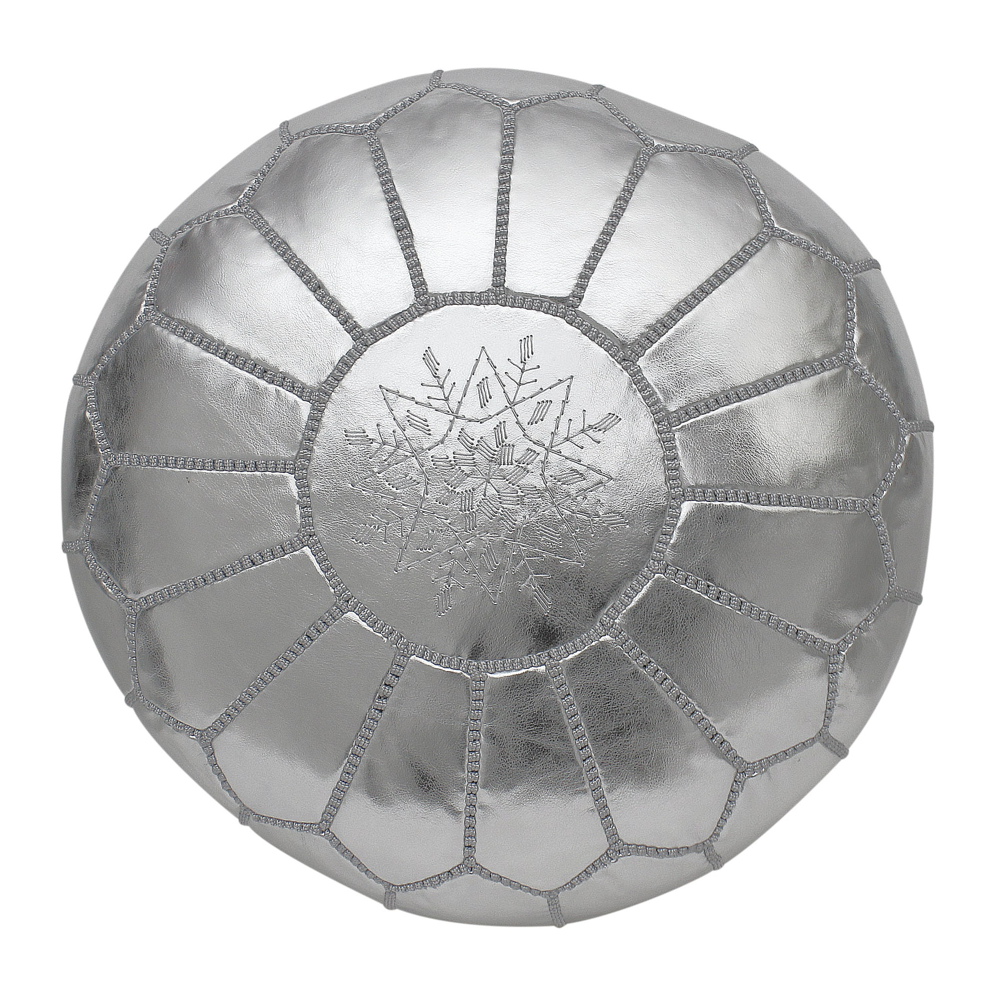 Marokkanische Pouffe Pouf Ottoman Hocker in Metallic Silber grau Kunstleder Cover nur handgefertigt in Marokko