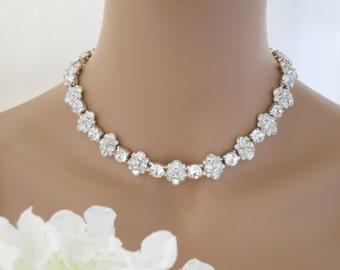 Statement wedding necklace, Swarovski crystal necklace, Rhinestone collar bridal necklace, Crystal flower necklace, Mother of Bride necklace