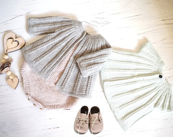 KNITTING PATTERN-Seamless Top Down Cardigan plus Onesie - P094