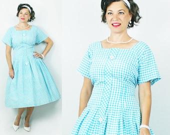 """1950s Dress / 50s Dress / Drop Waist / Gingham  / Full Skirt / Volup / Plus Size Dress / 1950s Plus Size / 50s Plus Size / Bust 45"""" Waist 40"""