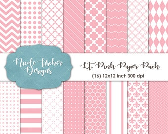 Light Pink Patterned Paper Pack -INSTANT DOWNLOAD
