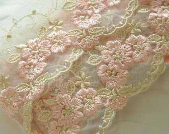 14 yards Delicate Floral Embroidery lace trim in Light Blue, Pink or Gold