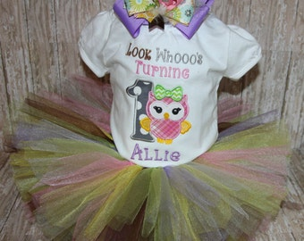 Custom owl first birthday bodysuit with coordinating tutu and hair bow