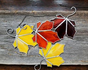 Fall leaf, Sun Catcher, stained glass, wall hanging