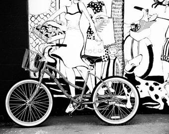 black and white bicycle photography, apalachicola, florida photography, beach cottage decor, bike wall art, mural street art, bike print