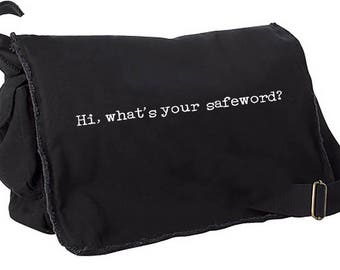 Hi, What's your safeword Raw edge Messenger bag computer tote shoulder purse