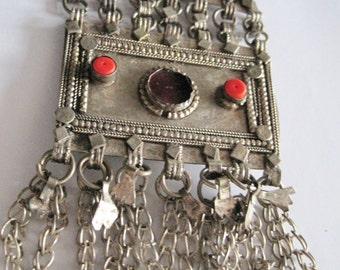 Vintage Bedouin Pendant Yemeni Hirz  Large Bedouin Amulet Ethnic Jewelry