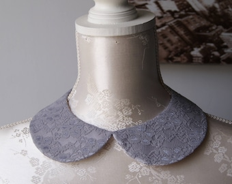 Lace collar necklace in grey round shape detachable removeable accessories for women two-sided laced collar peter pan elegant classic