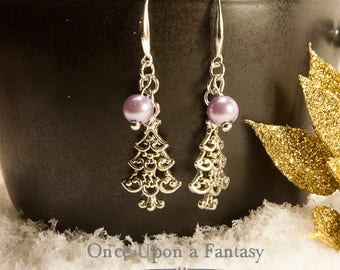 Earrings purple beads - winter Collection Christmas trees / Christmas 2014 Once Upon a Fantasy