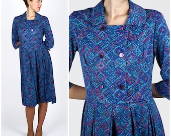 Vintage 1950s Blue and Pink Patterned Shirt-Waist Dress by Shelton Stroller | Medium