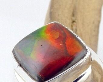 RING AMMOLITE PENDANT stone natural, ammolit jewels ammolit pendant T55 TA81 7.5 Us