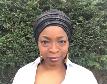 Black head wrap, African print head scarf, African head wrap, black bandana, full cover headwrap, solid black headwrap,  ankara head wrap