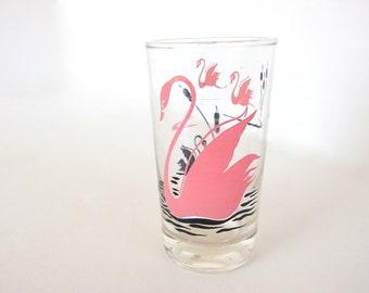 Vintage Pink Swan Drinking Glass