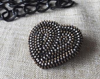 love brooch Christmas gifts Valentine brooch Heart brooch Zipper jewelry Zipper brooch Metal brooches Unusual  brooch Gift heart