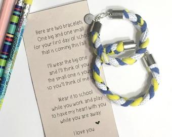 maman et moi bracelet, retour à l'école bracelet ensemble, bracelet mère fille, cadeau fille fête des mères, cadeau fête des mères fils, premier jour d'école