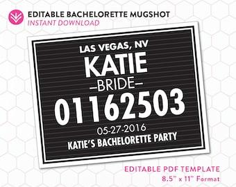 DIY Bachelorette Mugshot Sign Template   Unlimited Personal Use   Bachelorette Mugshot Template   Editable PDF Instant Download