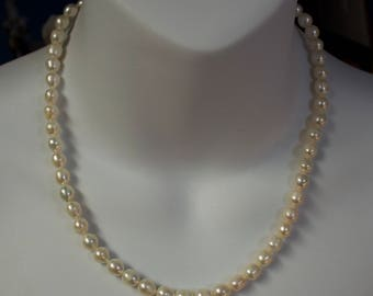 """18"""" 7.4mm White Freshwater Baroque Pearl Necklace"""
