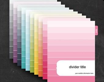 Binder Dividers - Printable Editable Rainbow Ombre Theme Instant Download - Home Organization Business Organization Classroom Homeschool