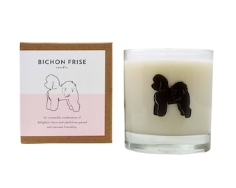 Bichon Frise Soy Candle Scented Soy Candle Dog Lover Gift Pet Memorial Hostess Bichon Frise Candle The Original Scripted Fragrance Candle