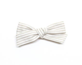 Taupe Stripes School Girl Bow