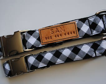 The Outdoorsman Collar, black and white buffalo collar, Buffalo plaid dog collar, black, white, metal buckle collar, dog collar