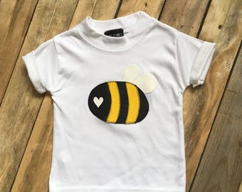 Skeletots white baby bee t-shirt rockabilly baby t-shirt goth Rock metal 0-3m to 6-12m