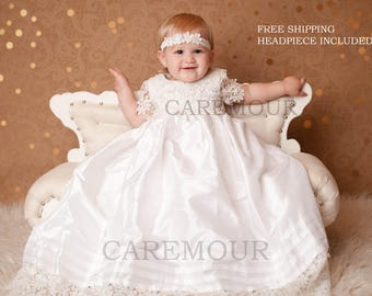 Silk with Crochet Lace Gown - Christening Gown, Baptism Gown, Baptism dress for baby girl, christening gown girl, baptism dress
