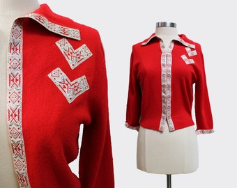 1950s Schiaparelli Red Cardigan
