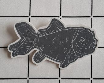 Linoprint goldfish shrink plastic brooch