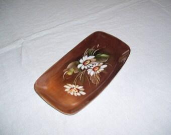 Handpainted Porcelain Trinket Dish Soap Dish Spoon Rest Brown Brazil Steatita Parana Porcelana