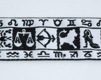 "Zodiac Astrological Sun Sign Jacquard Ribbon Sewing Trim, Vintage Trim, Astrology Ribbon, Horoscope Trim, Sewing, 1-7/8"" wide, 1 yard"