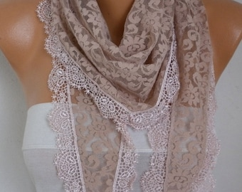 Valentine's Gift,Beige Lace Scarf, Wedding Shawl Cowl Scarf Bridesmaid Gift Gift Ideas For Her Women's Fashion Accessories