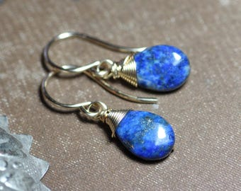 Lapis Earrings Gold Wire Wrapped Blue Gemstone Teardrop Earrings Blue Earrings Lapis Lazuli