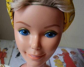 Vintage seventies Golden Dreams Barbie make up  styling vanity head Mattel mannequin display bait d.i.y art restoration project TLC