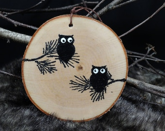 Rustic Birch owl ornament