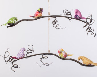 Bird Mobile ~ Curly Branches ~ Curly Branched Bird Mobile ~ Customizable Bird Mobile~ Multi Tiered Bird Mobile ~ Natural Bird Mobile