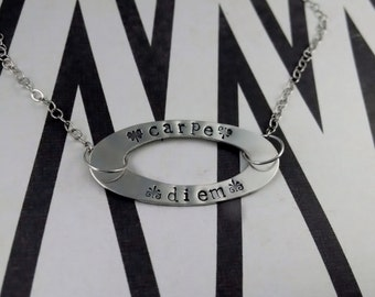 carpe diem necklace - carpe diem - sieze the day necklace - sieze the day - carpe diem jewelry - diem necklace