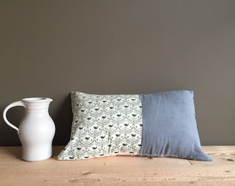 rustic home lumbar pillow - repurposed cotton and linen cushion cover - swan print cushion cover - repurposed shirt grey oblong pillow cover