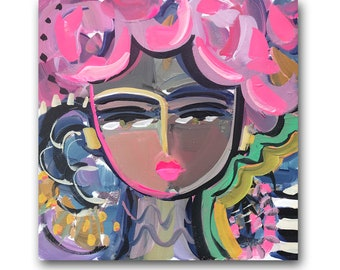 """Warrior Girl Print, paper or canvas, pink and orange, woman portrait, """"Evette"""""""