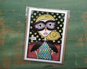 SALE!  Halloween Card, Halloween Art, Greeting Card, Note card Sale card Clearance Card, Whimsical Halloween, Whimsical Girl, Owl Girl